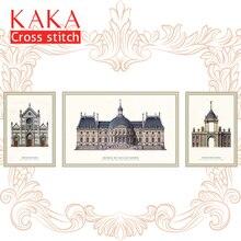 Kaka 크로스 스티치 키트 자수 바느질 세트 인쇄 패턴, 11ct 캔버스, 가든 하우스, 5d 건축을위한 가정 장식