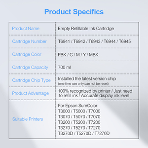 Image 5 - 5 couleurs/Ensemble T6941 T6945 T6941 Cartouche Dencre Rechargeable Pour Epson SureColor T3000 T3200 T5200 T7200 T3270 T5270 T7270 700 ML/PC