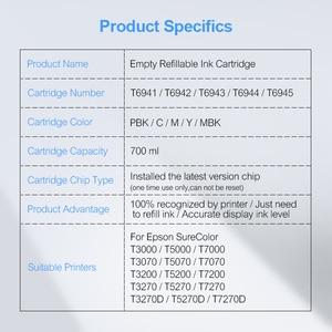 Image 5 - 5Colors/Set T6941 T6945 T6941 Refillable Ink Cartridge For Epson SureColor T3000 T3200 T5200 T7200 T3270 T5270 T7270 700ML/PC