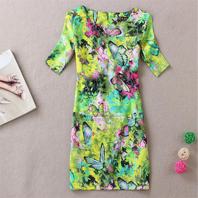 New Fashion summer dress 2016 style women short-sleeve casual vestidos feminino  women clothing  floral print plus size dresses