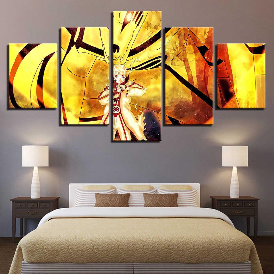 Vải hiện đại Hình Ảnh HD In Hình Nghệ thuật Treo Tường Khung 5 Miếng Anime Nhân Vật Naruto Cảnh Phòng Khách Trang Trí Nhà Tranh Áp Phích