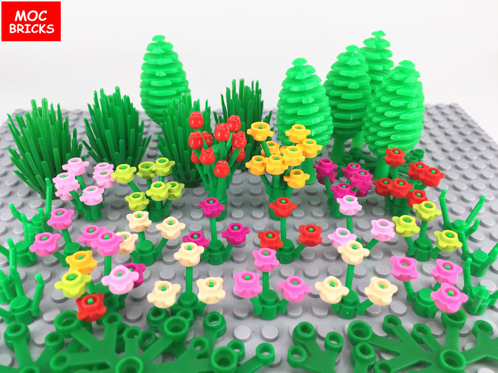 Blocks Model Building Hot Sale 200pcs Diy Garden Green Brown Beige Grass Flowers Plants Bush Tree Building Blocks Moc Assemble Particles Christmas Toys Legoing