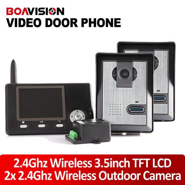 3.5 Inch 2.4G Wireless Video Door Phone Intercom System / Video Door Camera Wireless 2 To 1 Video Doorphone