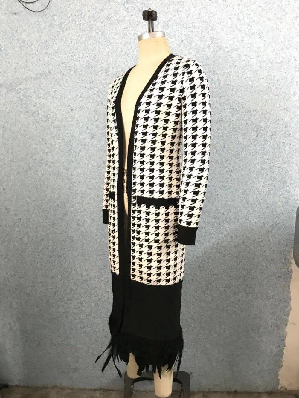 Rayonne Longues Celebrity 2019 Bandage V Conception Nouvelle Femmes Cou Sexy Manches Jupettes Veste Manteau Élégant Plume Longue Jacquard Mode vwF1rqvx7Z
