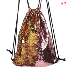Girls women sequin double color drawstring backpack sports travel school bags