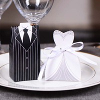 100Pcs Bridal Gift Cases Groom Tuxedo Dress Gown Ribbon Wedding Favors Candy Box Sugar Case Wedding Decoration Mariage