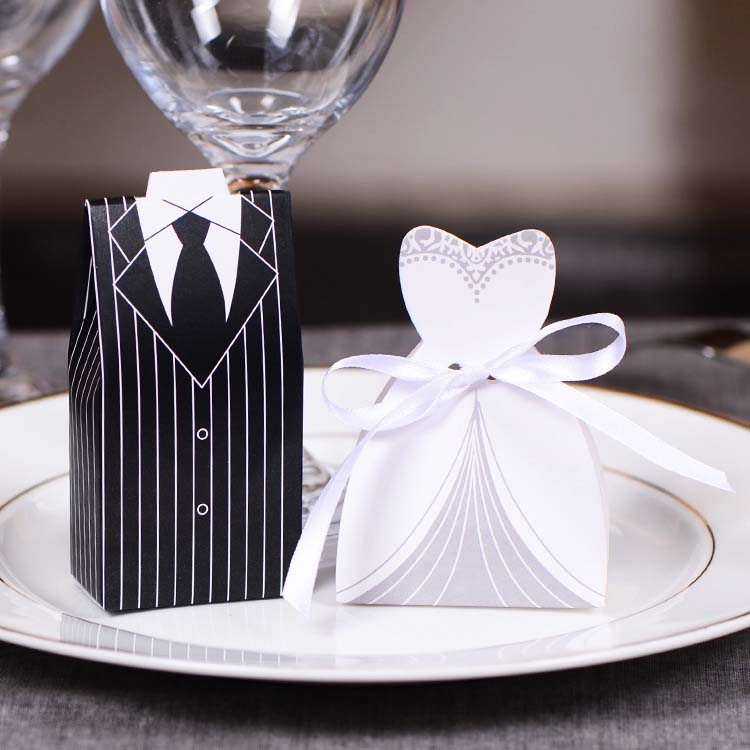 100Pcs font b Bridal b font Gift Cases Groom Tuxedo Dress font b Gown b font