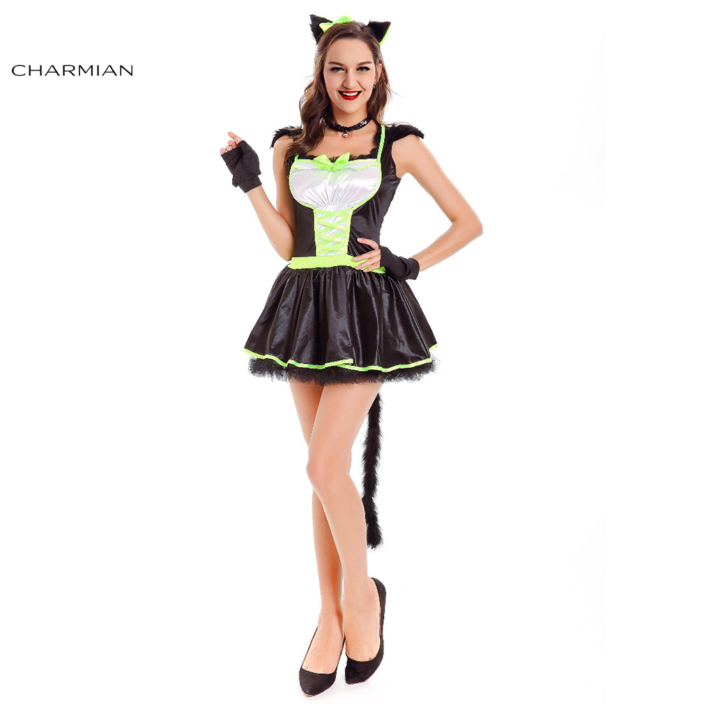 charmian naughty cat halloween costume for women sexy catsuit uniform club wear adult fantasia cosplay carnival - Naughty Halloween Costume