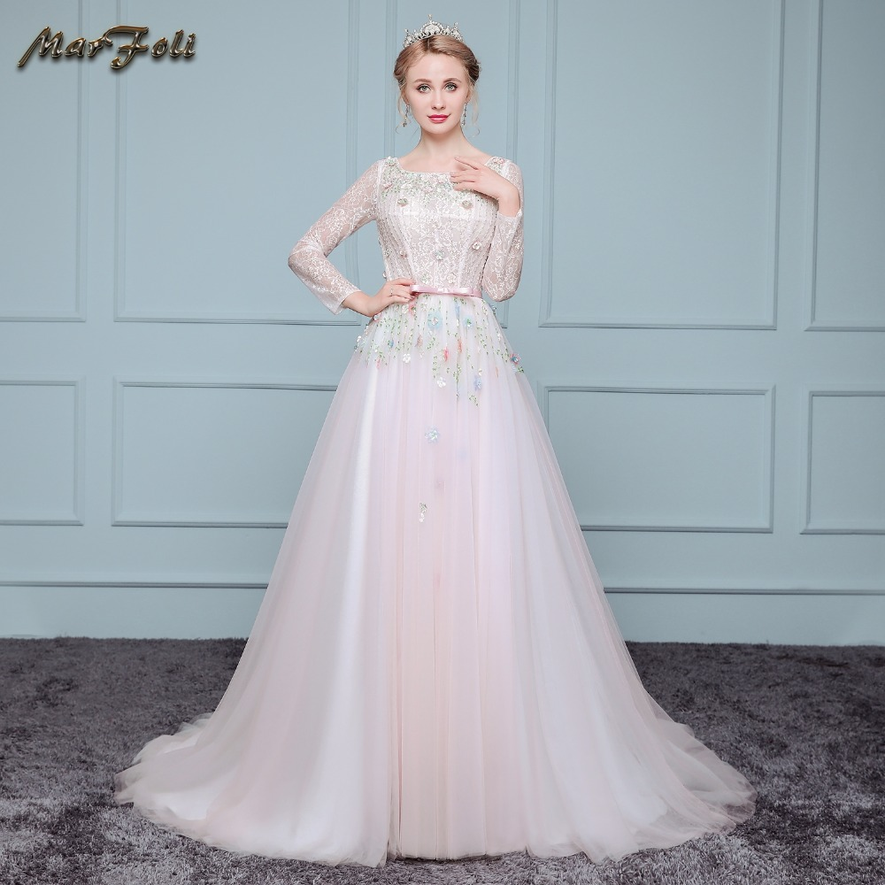 Online Buy Wholesale lace sleeves pink wedding dress from China lace ...