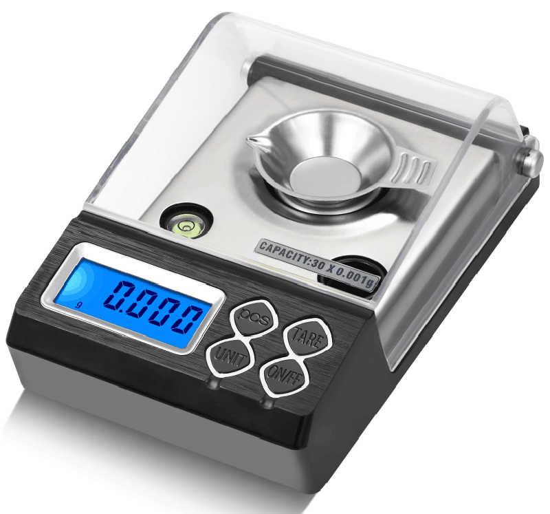 Haute précision 50g/0.001g Balance de poids de laboratoire numérique milligramme bijoux diamant or échelle électronique Carat échelle