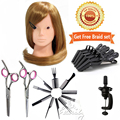 """80% Real Hair 22"""" 55cm Hairdressing Training Head Cosmetology Mannequin Head for Makeup Practice Dummy with Salon Tool Kits B15"""