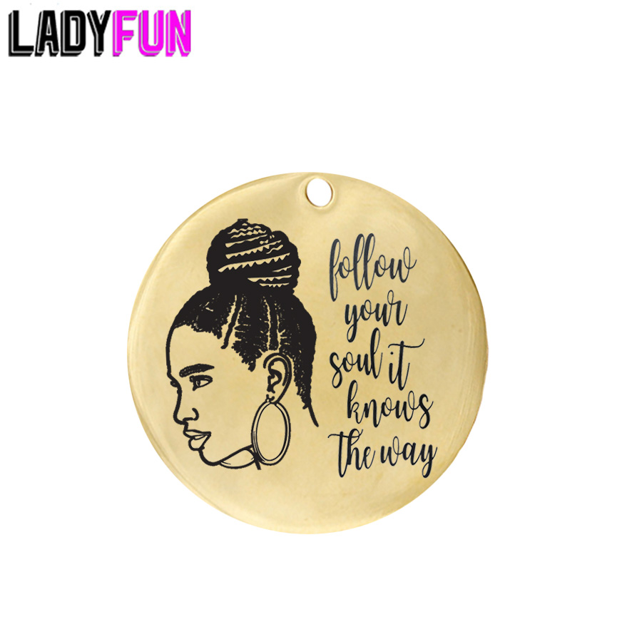 Ladyfun Customizable Follow Your Soul It Knows The Way Pendant Charm Round 25mm  Boho Gypsy Charms Wanderlust Gifts For Her