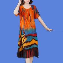 Fake Silk Chiffon Dress Women Plus Size High Quality 2019 Summer Elegant Vintage Party Night Dresses Robe a Line Orange Clothing цена и фото