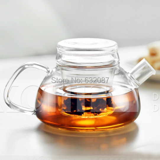 Free Shipping 2sets/pack 600ml large capacity heat-resistant glass tea pot set flower pot transparent coffee pot