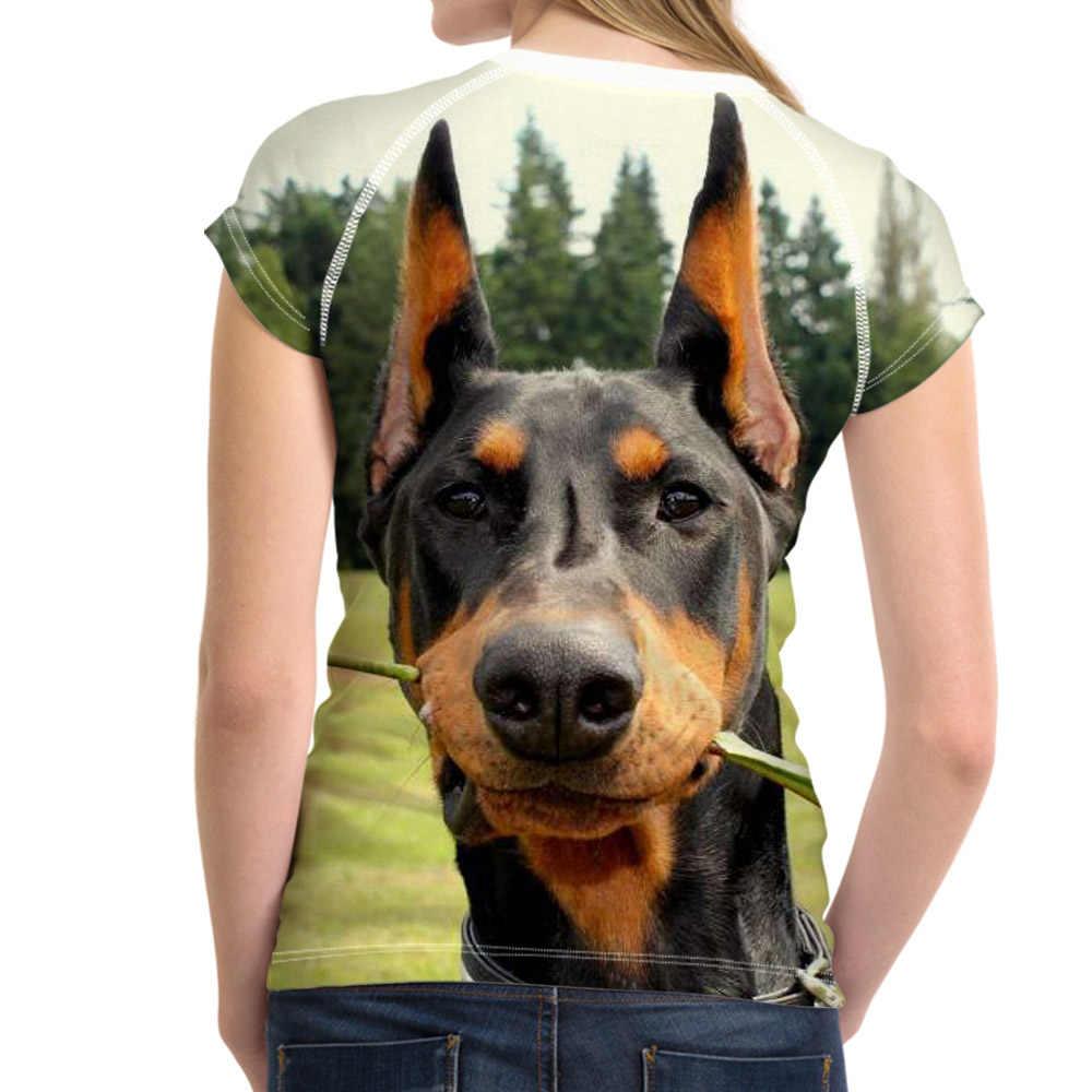 Kawaii 3D Con Chó Doberman In Phụ Nữ T Áo Sơ Mi Thiết Kế Thương Hiệu O Neck T-Shirts cho Cô Gái Giản Dị Harajuku Ngắn Top Tees