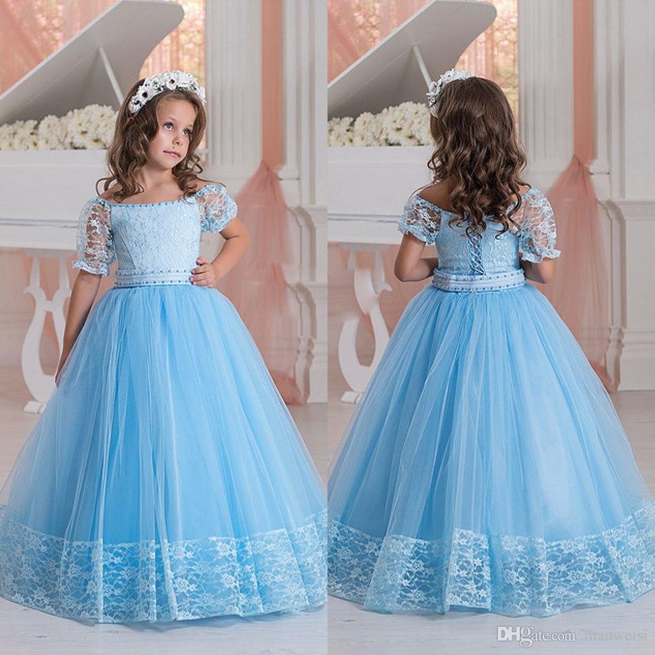 2017 Light Sky Blue Lace Applique Flower Girl S Dresses