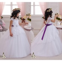 Lovely white flower girl dresses for wedding with purple sash lace appliques ball gown for girls flowers vestidos de comunion