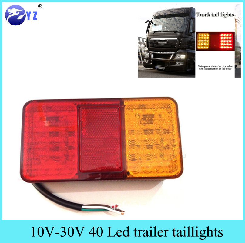 2Pcs 10 30V 40 Led Double color trailer taillights 24V tail lights ...