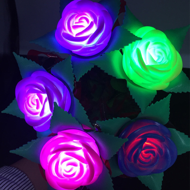 15pcs/lot Artificial LED Rose Flower flashing light toys For Party Decoration LED Night Light Valentine's Day Wedding Gift