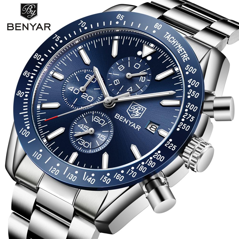 2018 Top Brand Luxury BENYAR Men Sport Watch Chronograph Stainless Steel Quartz Military Watches Clock Men Relogio Masculino цена