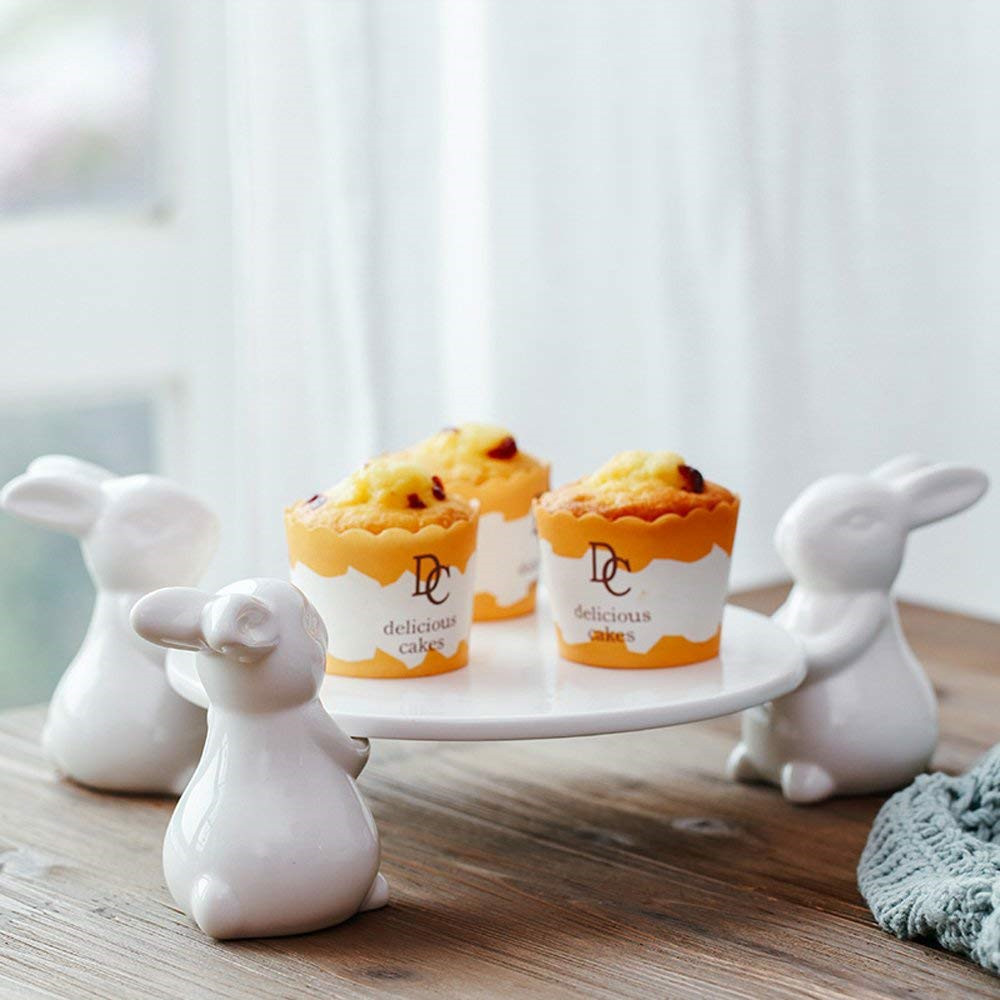 Porcelain cake plate Ceramic white rabbit foot holder creative home decorations ceramic ornaments accessories tea pastry tray