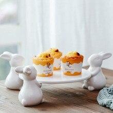 Фарфоровая тарелка для тортов керамический белый кролик держатель для ног творческие украшения для дома керамические украшения аксессуары чайный лоток для теста