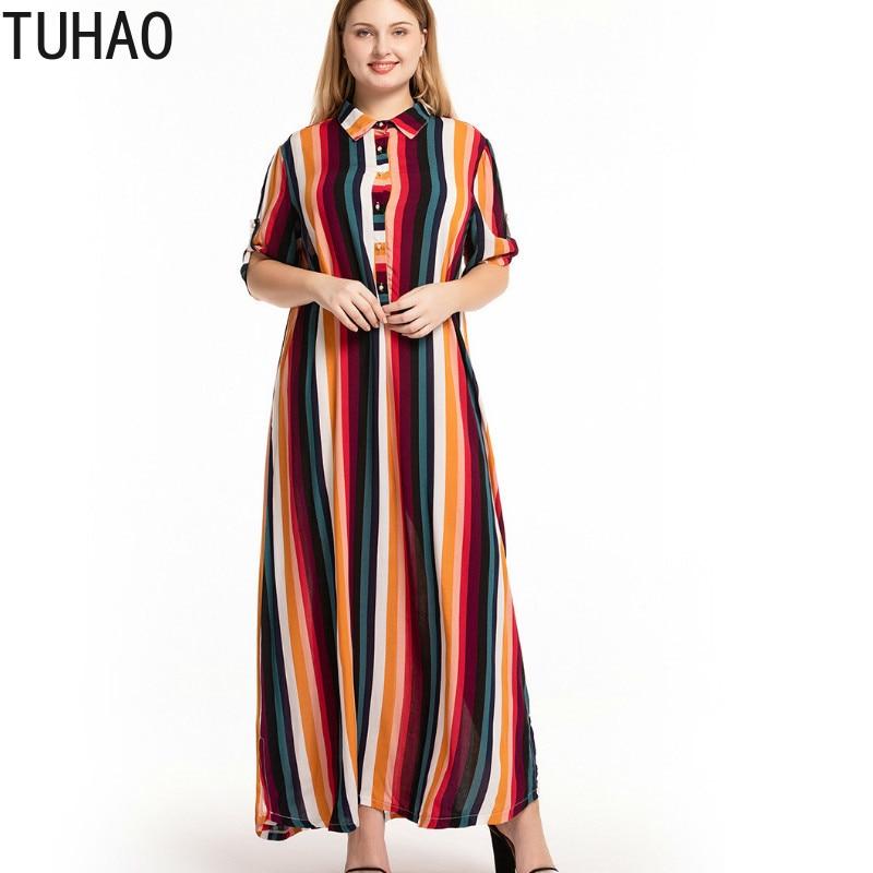 US $20.14 47% OFF TUHAO Maxi Long Vintage Dresses Plus Size 5XL 4XL 3XL  Striped Shirt Dress Large Size Loose Women Dress 2019 Summer Dress CMSZ-in  ...