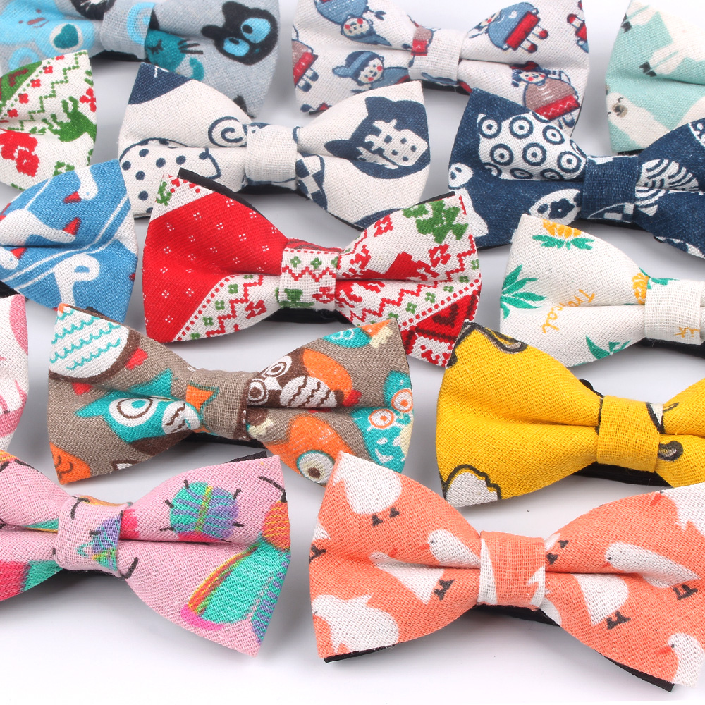 Men Animal Bowtie Casual Linen Cotton Bow Tie For Men Women Bowknot Adult Print Cartoon Bow Ties Cravats Wedding Bowties