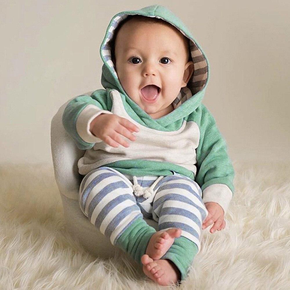 Baby Kleidung Herbst Baby Jungen Kleidung Langarm-kapuzenshirt Tops Casual Streifen Sweatsuit Hosen Kappe 3 Stücke Outfit Set Dauerhafter Service Mutter & Kinder