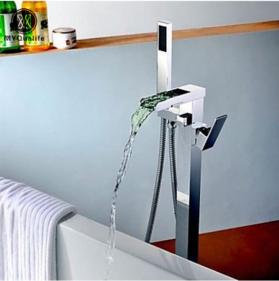 LED Color Changing Waterfall Bathtub Mixer Faucet Set Chrome Finished Free Standing Floor Mount