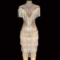 Роскошные Кристаллы сетки видеть сквозь платье Для женщин мода платье на день рождения этап певица показать на день рождения Вечеринка пла