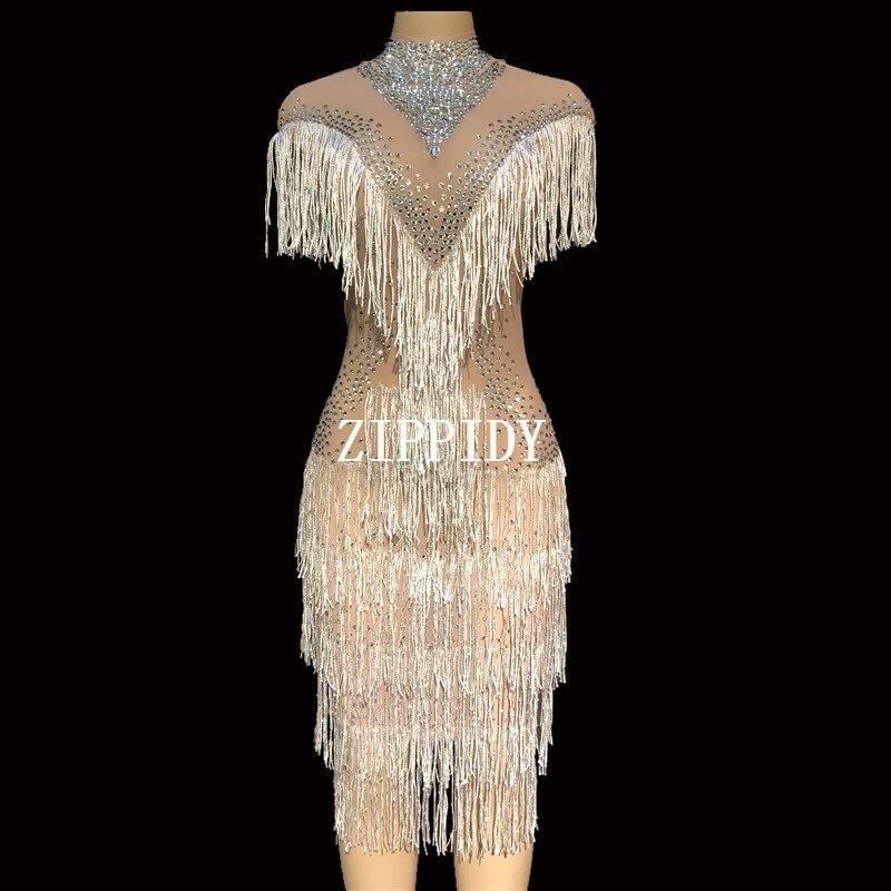 Pierres de luxe maille voir à travers la robe femmes mode robe d'anniversaire scène femme chanteuse spectacle anniversaire soirée robe de soirée
