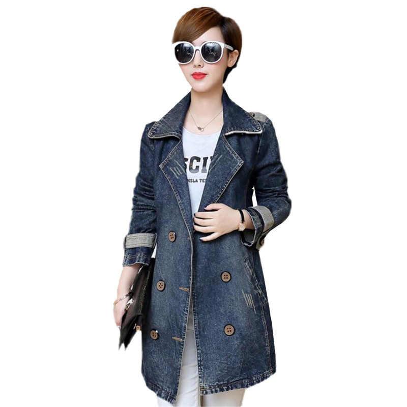 4e6392a0ae1 Denim Windbreaker Spring Autumn Large size Women Mid long Fashion Denim  Coat Double breasted Slim Female