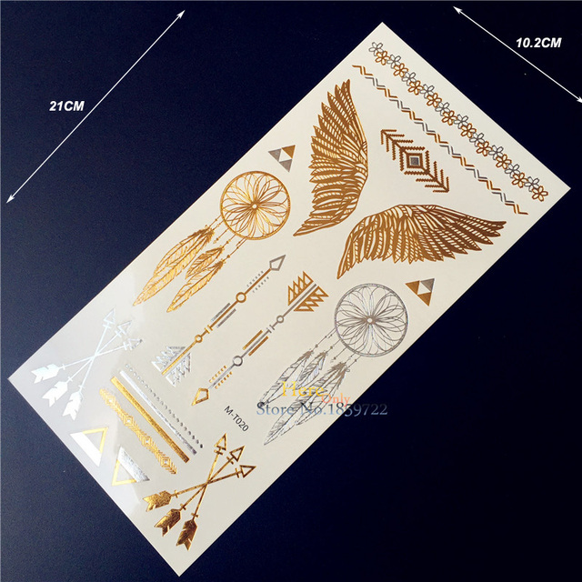 Hot 1PC Gold Silver Flash Temporary Tattoo Sticker Men Women Henna MT020 Indian Dreamcatcher Angel Wing Arrow Waterproof Tattoos
