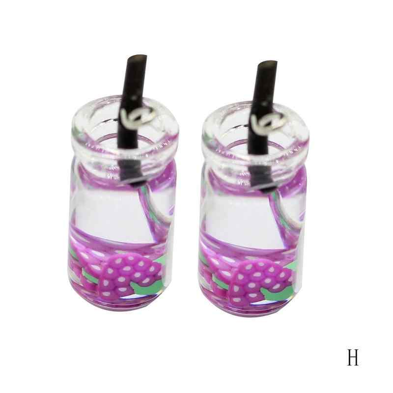 DIY Brincos de Pingente Material Kawaii Verão Nova Simulação de Vidro Suco de Frutas Criativo Brincos Colar de Pingente Pequeno Chaveiro