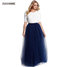Maxi Skirt 6 Layers Tulle Skirt Premium Sewn With Elastic 100cm Length Long Skirt Womens Summer Style High Waisted Skirts 2018