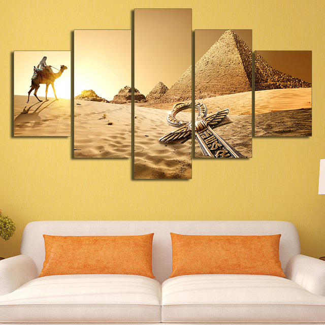 5 Panels Egypt Pyramid Of The Desert Canvas Print Home Decoration HD ...