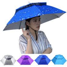 9880bd4482309 Head Umbrella Hat Hiking Beach Anti-UV Anti-Rain Outdoor Fishing Caps  Portable Travel