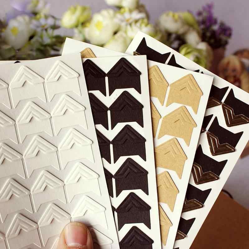120 pzs/lote (5 hojas) pegatinas de papel kraft para esquinas, tipo vintage que puedes colocar tú mismo, para decoración de marcos de álbumes de fotos, cuaderno para colorear, envío gratuito