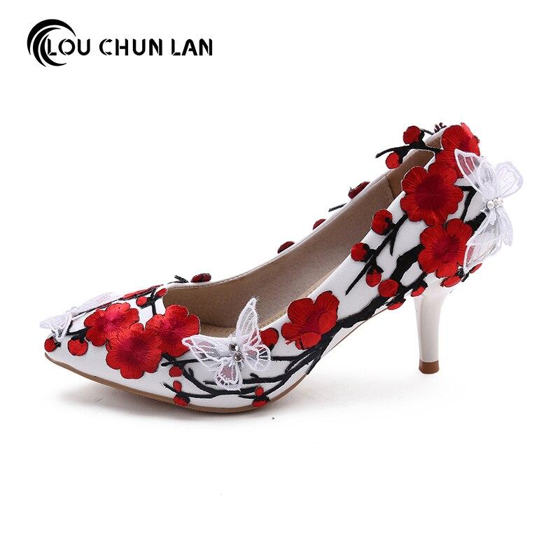 LOUCHUNLAN/Женская обувь, белые туфли-лодочки с объемными бабочками и красным цветком, свадебные туфли на танкетке с острым носком вечерние туфл...