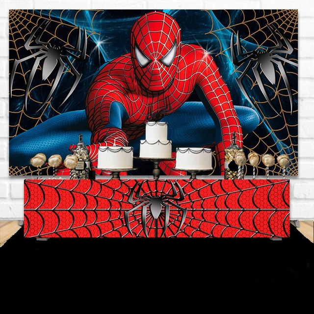 Custom Spiderman Birthday Boy Super hero photo backdrop High quality Computer print party photography studio background