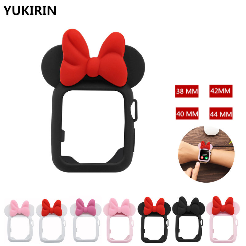 YUKIRIN Case for apple watch case series 4 3 2 1 38 42mm 40 44mm band protector iWatch silicone cartoon design for Minnie Kid цена 2017