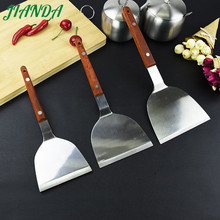 JIANDA Newest Cooking Tools Heat Resistance Stainless Steel Turners Spatula Scraper with Wooden Handle utensilios de