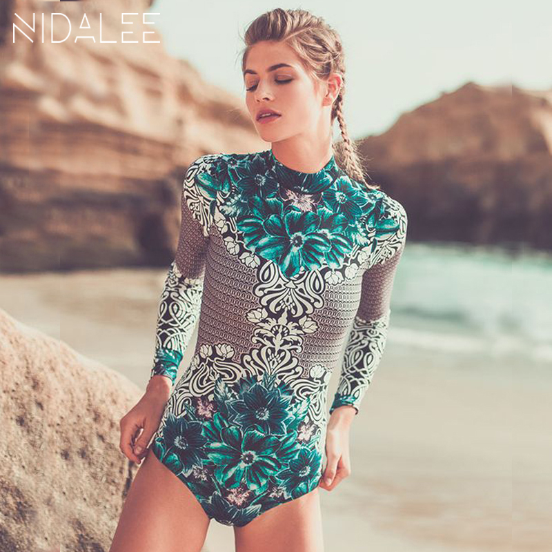 NIDALEE 2018 Long Sleeve Print One Piece Swimsuit For Girls Swimwear Women Wetsuit Surfing Suit Womens Beachwear Bathing Suits