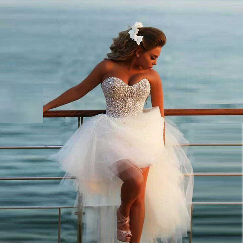 2018 vestido de noiva Fashionable Pearls Prom High Low Tulle Short Ball Party Hot sale Beading Bridal gown   bridesmaid     dresses