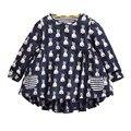 T Camisas do bebê Meninas Manga Longa De Algodão Coelho Dos Desenhos Animados Impresso Tees Bolso Outono Miúdos Bonitos Tops T-shirt Da Menina