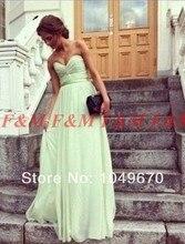 Schnelles Verschiffen! 2016 Chic Sage Schatz Besetzte Bodenlangen Mint Green Chiffon Sexy Lange Abendkleider F & M784
