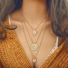 Gold Link Chain Layered Necklace for Women Summer Beach Jewelry Bohemian Sea Shell Pendant Necklace Boho Women's Chockers 2019 silver link chain vintage layered necklace for women ankh round sun moon pendant necklace boho women s necklace jewelry 2019