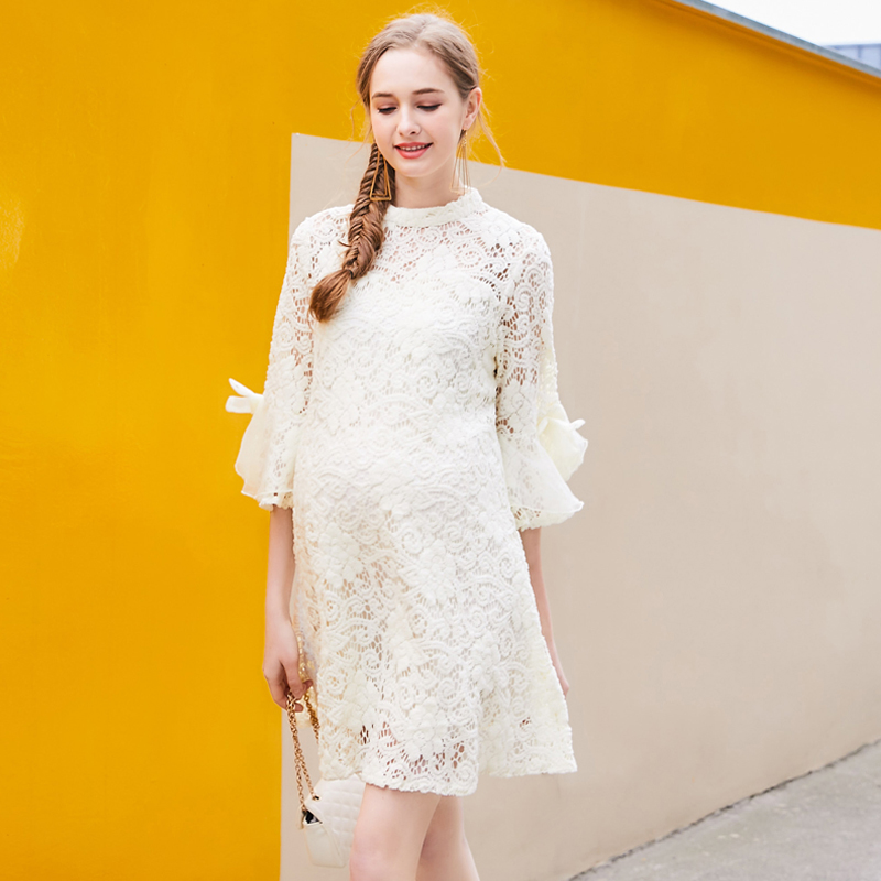Europe New 2018 Spring Summer Pregnant Women Fashion O Neck Long Flare Sleeve Hollow Out Lace Dress Maternity Formal Dresses Hot europe new hot 2018 summer maternity o neck short sleeve ruffles striped cotton mini dress pregnant women casual fashion dresses