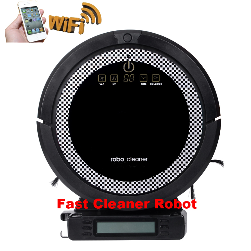 Smartphone WIFI APP Robot Vacuum Cleaner Smart Sweeping Rechargeable Remote Control with Water tank newest wifi app smartphone wireless remote control lawn mower robot with water proofed charger range subarea compass functions